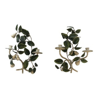 Tole & Iron Painted Pear & Leafy Wall Sconces - a Pair For Sale