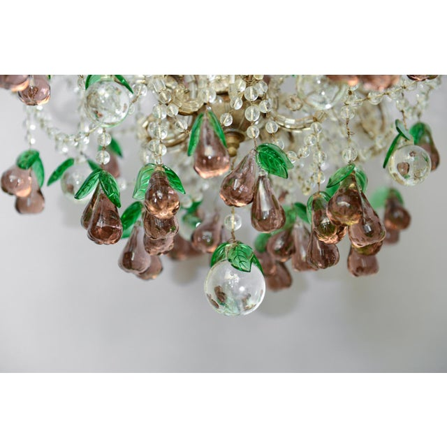 Italian Italian Maria Theresa Six-Light Chandelier Adorned with Amethyst Glass Pears For Sale - Image 3 of 8
