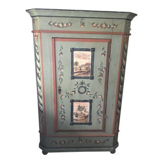 20'th Century Hand Painted Sweedish Cupboard Armoir Closet For Sale