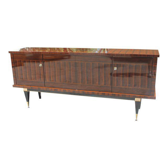 Classic French Art Deco Macassar Ebony Sideboard / Credenza / Buffet Circa 1940s For Sale - Image 13 of 13