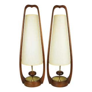 1960s Mid-Century Modern Modeline Walnut & Brass Table Lamps - a Pair For Sale