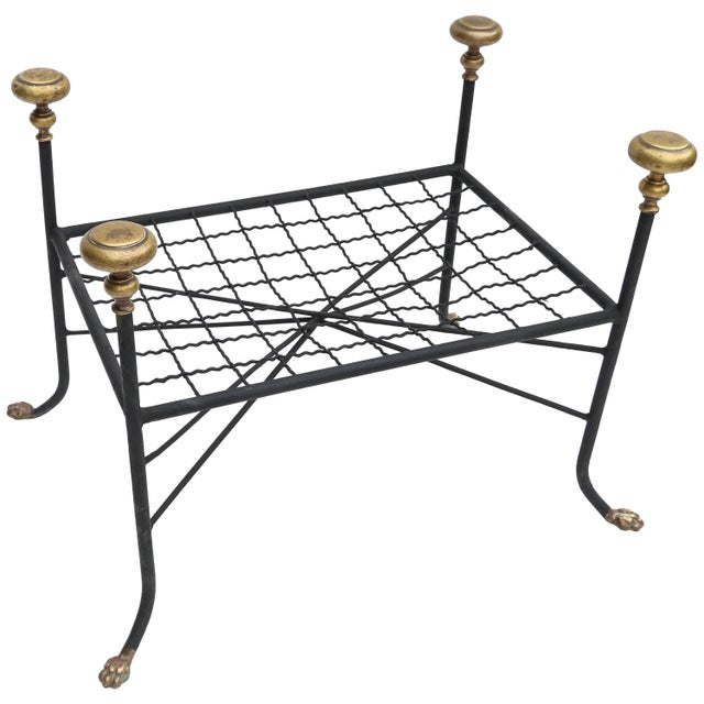 Metal Black Metal Bench or Stool With Brass Finials and Claw Feet For Sale - Image 7 of 7