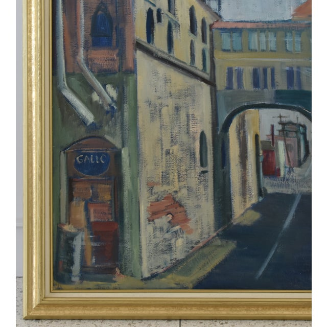 Mid-Century Modern Midcentury Vintage European Village Street Oil Painting For Sale - Image 3 of 10