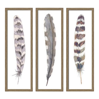 "Set of 3 Framed Watercolor Feather Prints 24""x36"" For Sale"