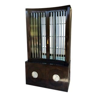 Vintage Grosfeld House Lorin Jackson Dark Mahogany Lucite Mirrored Display Cabinet For Sale