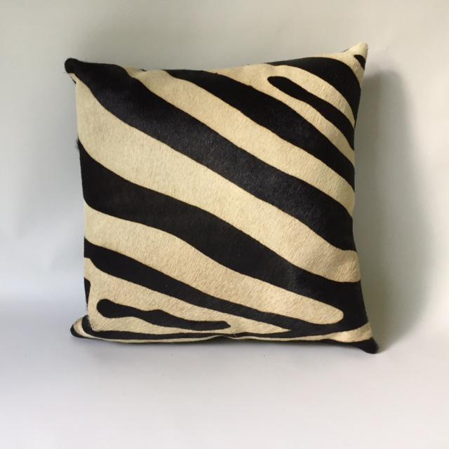 Zebra Printed Hide Pillows - a Pair - Image 4 of 8
