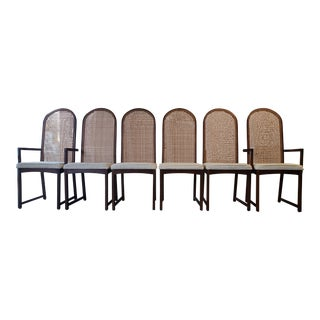 Set of Six High-Backed Cane Dining Chairs by Milo Baughman For Sale