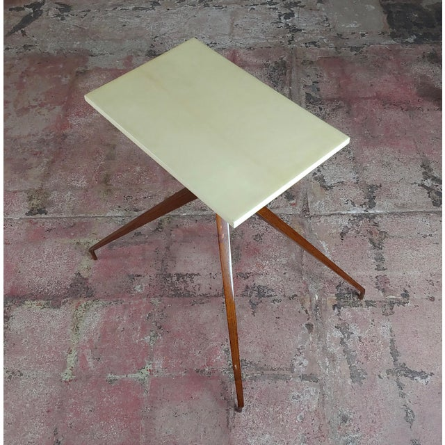 Wood Mid Century Modern Geometric Side Table With Goatskin Top For Sale - Image 7 of 10