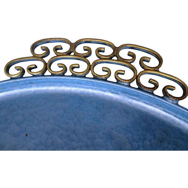 Mid-Century Moiré Glaze Kyes Powder Blue Tray - Image 4 of 4