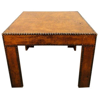 1950s Mid-Century Modern Leather Coffee Table For Sale