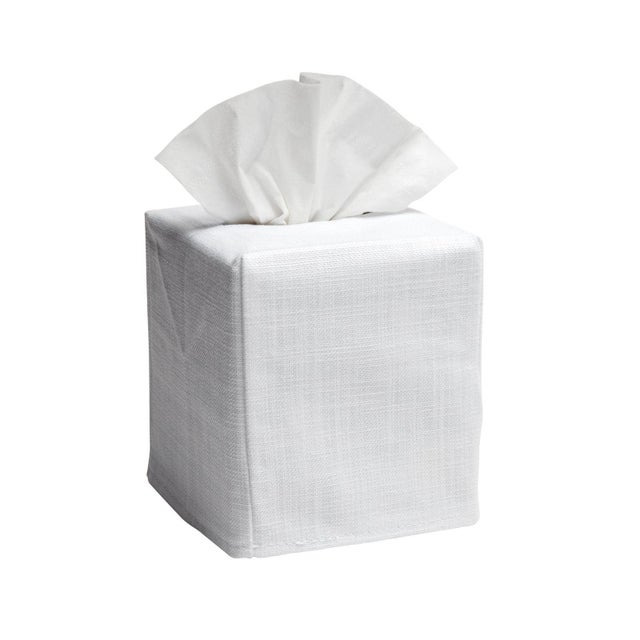 """Size: W-4 ½"""", D-4 ½"""", H-5 ¼"""" (Fits the standard Puffs & Kleenex cubes) Fabric: White Linen / Cotton Embroidery: Blue Cache..."""