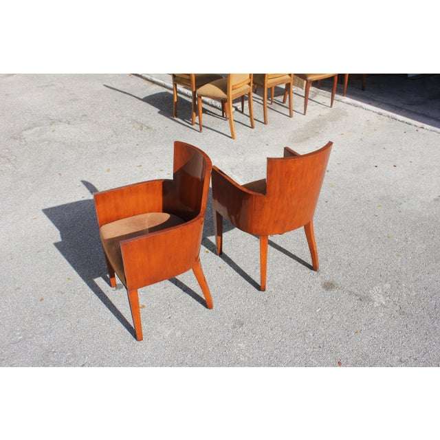 Animal Skin Pair of Solid Mahogany Ralph Lauren Modern Hollywood Armchairs . For Sale - Image 7 of 13