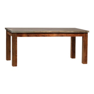 Zinc Top Wood Dining Table For Sale