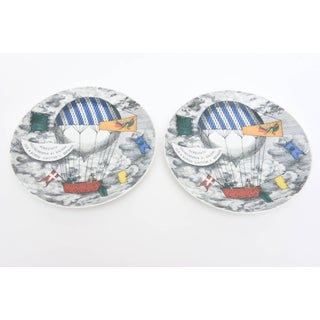 Piero Fornasetti Hot Air Balloon Race Porcelain Plates - a Pair Preview
