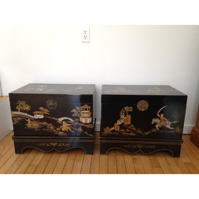 Vintage Chinese Laquered Chests - A Pair - Image 2 of 11