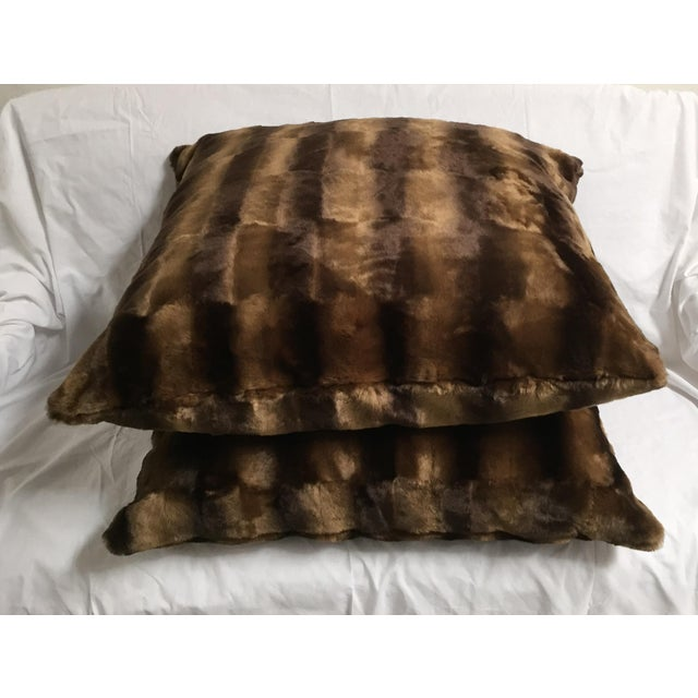 Contemporary Oversized Faux Mink Pillows - A Pair - Image 6 of 6