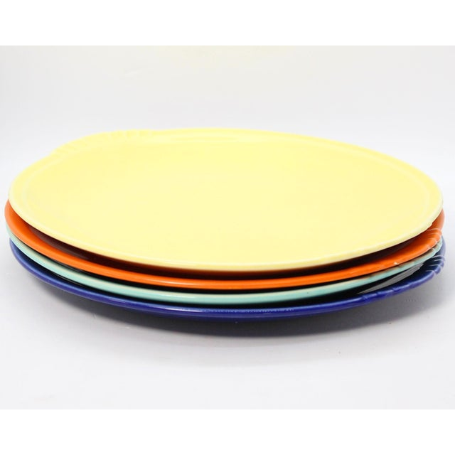 1930's Paden City Pottery Caliente Shell Serving Plates With Scalloped Edges - Set of 4 For Sale In Los Angeles - Image 6 of 9