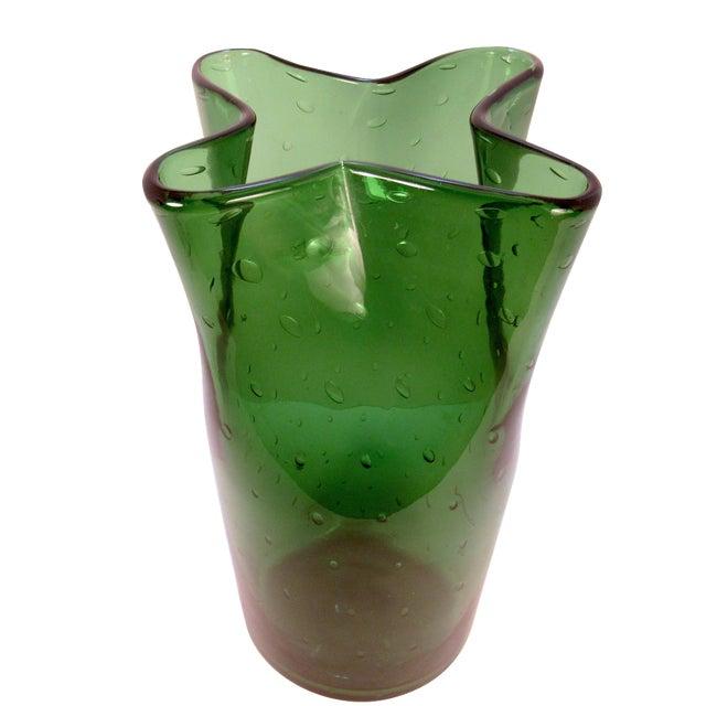 Vintage Blenko Style Hand Blown Green Art Glass Vase Chairish