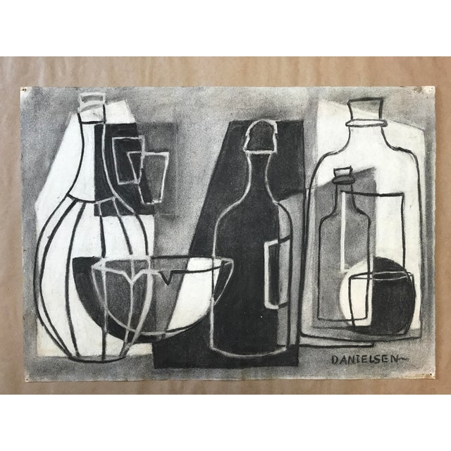 Charcoal 1930s Cubist Greyscale Still Life Student Drawing For Sale - Image 7 of 8