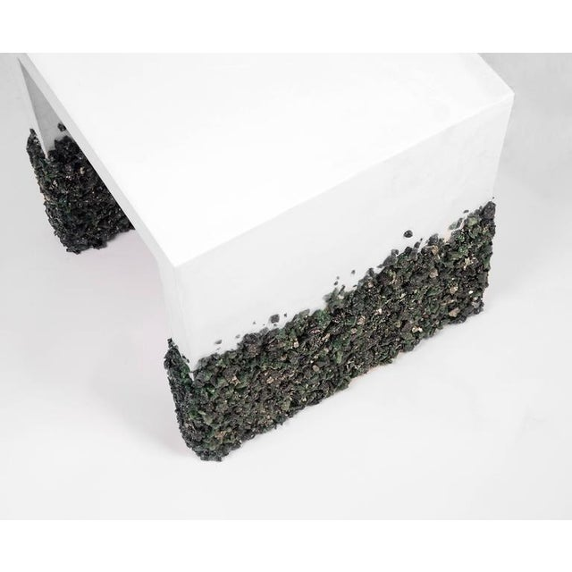 Contemporary Hand Made Side Table of Dark Green Aventurine, Pyrite and White Plaster For Sale - Image 3 of 6