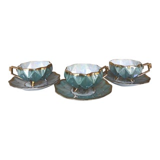 Antique Royal Sealy Tea Cups and Saucers From Japan - Set of 3 For Sale