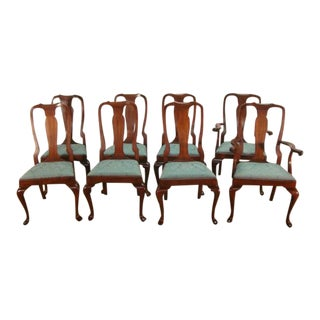 Henkel Harris Solid Cherry Queen Anne Dining Chairs- Set of 8 For Sale