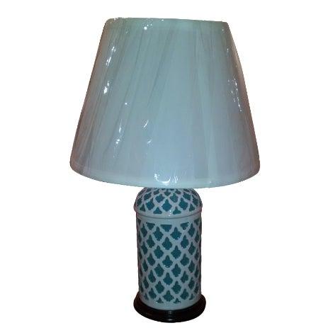 Aqua & White Ceramic Table Lamp - Image 1 of 7