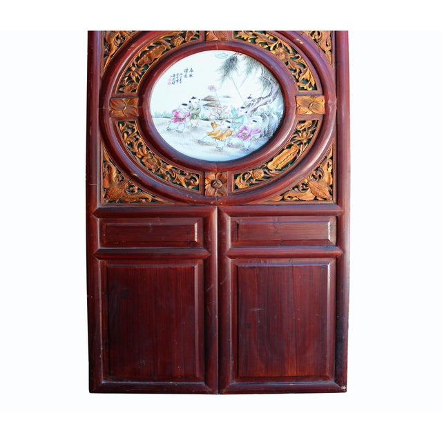 Wood Chinese Vintage Round Porcelain Scenery Wood Wall Panel Art For Sale - Image 7 of 8