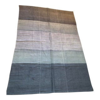 Late 20th Century Vintage Blue Ombre Turkish Hemp Rug-5′6″ × 7′10″ For Sale