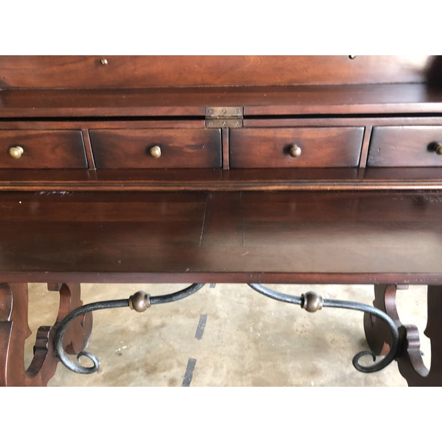 Spanish Colonial Style Wood and Iron Lift Top Desk For Sale - Image 4 of 9