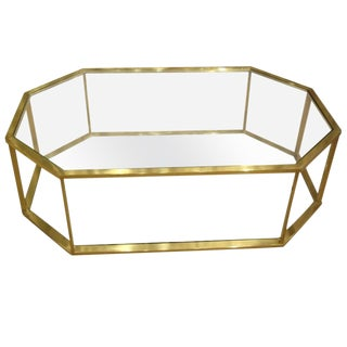 Vintage 1960s French Brass Coffee Table For Sale