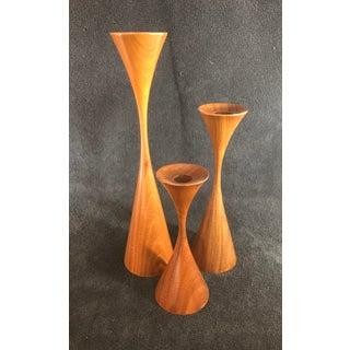 Vintage Rude Osolnik Original Mid Century Modern Turned Walnut Candle Holders - Set of 3 Preview