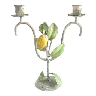 Vintage Italian Tole Lemon Tree Double Candle Holder For Sale