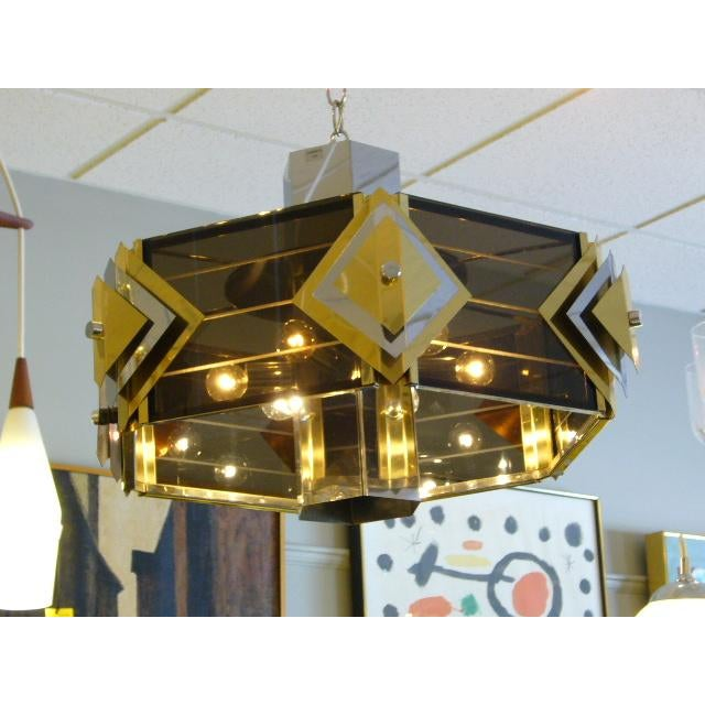 Hollywood Regency Amazing Modernist Cityscape Style Mixed Metal & Lucite Chandelier For Sale - Image 3 of 10