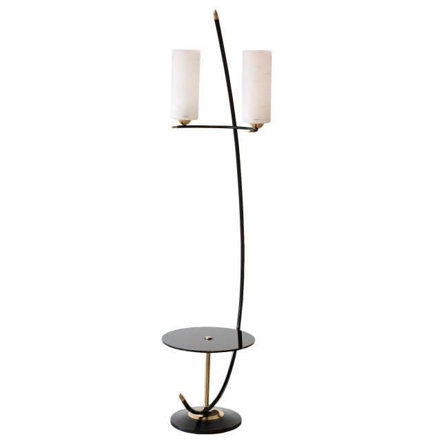 French Floor Lamp in Brass and Black Lacquer with Etched Glass Diffusers, 1950s For Sale - Image 10 of 10