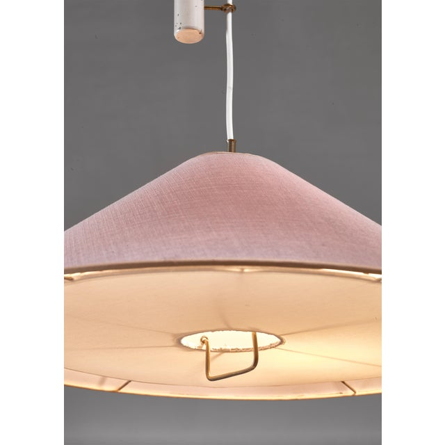 1950s Paavo Tynell Pendant With Counterweight and Fabric Shade and Diffuser, Finland For Sale - Image 5 of 6