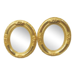 French Style Oval Gilt Carved Mirrors - A Pair