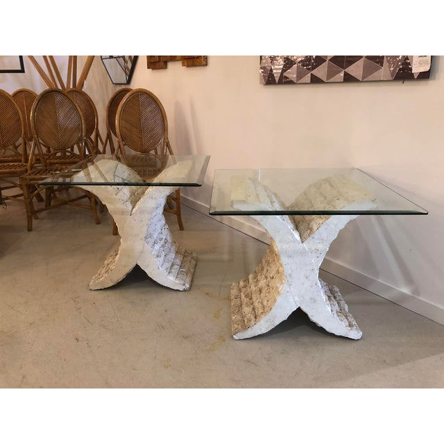 Mid-Century Modern Coquina & Stone Glass Top Tables For Sale - Image 3 of 9