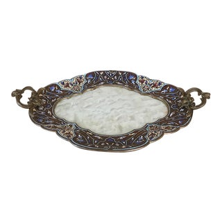 19th Century French Bronze Enamel Onyx Champlevé Dresser Tray For Sale