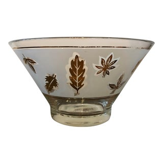 Vintage Libby Frosted Gold Leaf Bowl For Sale