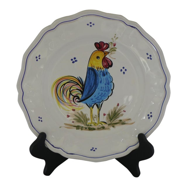 Decorative Italian Ceramic Plate With Rooster For Sale