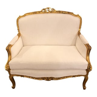 Gold & White Upholstered Settee For Sale