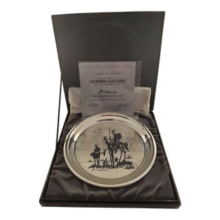Vintage 1970s Washington Mint Sterling Silver Plate of Picasso's Don Quixote For Sale