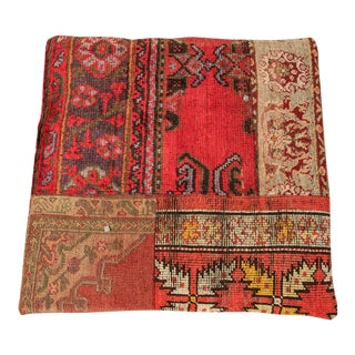 Vintage Luxury Wool Red Floor Pillow For Sale