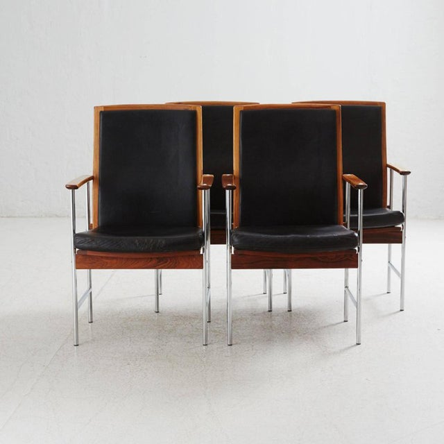 1960s Set of Four Finnish Rosewood Armchairs For Sale - Image 5 of 8