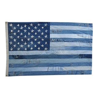 "Custom Tailored Denim Patchwork American Flag Art Throw 58"" x 36"""