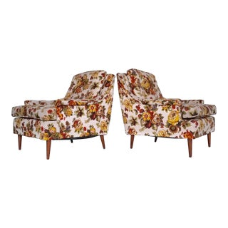 1960s Danish Modern Lounge Chairs in Floral Wool - a Pair For Sale