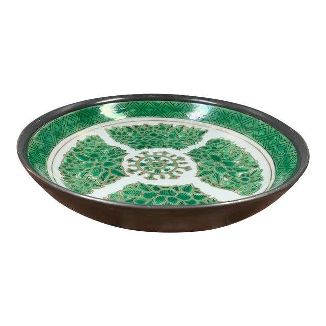 Vintage Green & White Porcelain Bowl / Catchall Encased in Pewter For Sale