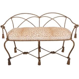 1950s Italian Gilt Rope and Tassel Settee With Designer Leopard Velvet Seat For Sale