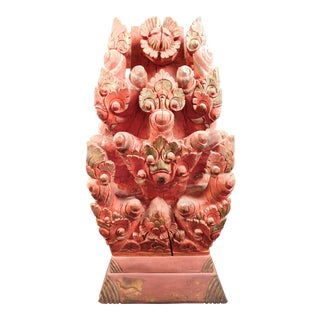 Asian Antique Wood Carved Buddha Temple Statue For Sale